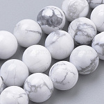 Natural Howlite Beads Strands, Round, 6mm, Hole: 1mm; about 70pcs/strand, 15.7inches