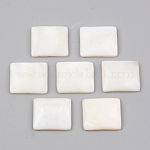 Natural Freshwater Shell Cabochons, Rectangle, White, 13x15x3mm