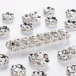 Middle East Rhinestone Spacer Beads, Clear, Brass, Silver Color Plated, Nickel Free, Size: about 7mm in diameter, 3.2mm thick; hole: 1mm