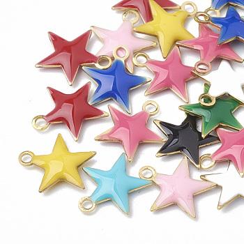 Charms in ottone, paillettes smaltate, grezzo (non placcato), stella, colore misto, 10.5x10x1.5mm, Foro: 1 mm