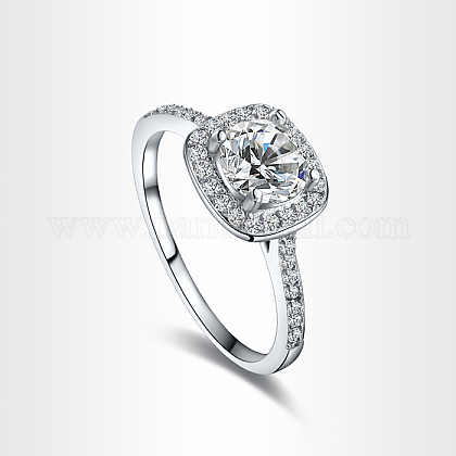Real Platinum Plated Environmental Brass AAA Square Cubic Zirconia Engagement RingRJEW-AA00201-8#-P-1