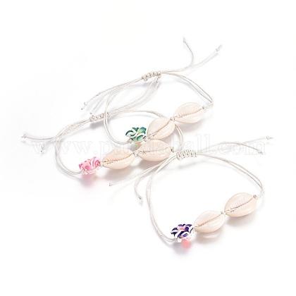 Chinese Waxed Cotton Cord  Braided Bead BraceletsBJEW-JB04104-1