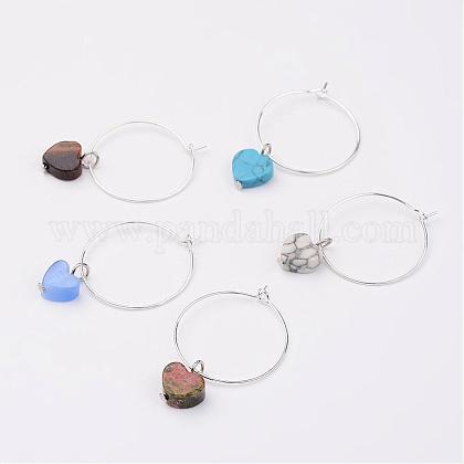 Mixed Gemstone Wine Glass CharmsAJEW-JO00150-1