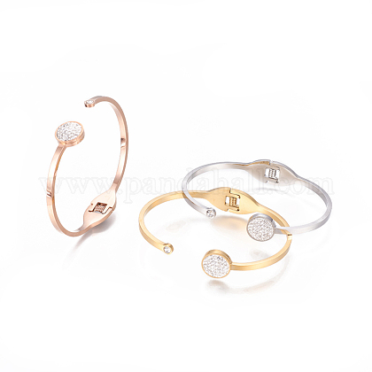 304 Stainless Steel Cuff BanglesBJEW-F390-01-1