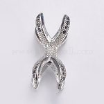 Brass Micro Pave Cubic Zirconia Beads, Long-Lasting Plated, Real Platinum Plated, Claw, 19x9mm, Hole: 2mm