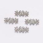 Alloy with Grade A Middle East Rhinestone Bar Spacers, Platinum, Size: about 6.5mm wide, 18mm long, 4mm thick, hole: 1mm