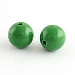 Chunky Bubblegum Round Acrylic Beads, Green, 8mm, Hole: 1.5mm; about 1700pcs/500g