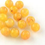 Round Imitation Gemstone Acrylic Beads, Gold, 6mm, Hole: 1.5mm; about 4100pcs/500g