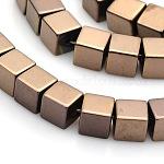 Cube non-magnétiques hématite synthétiques brins de perles, cuivre plaqué, 6x6x6mm, trou: 1mm; environ 62 pcs/chapelet, 15.7