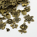 Tibetan Style Alloy Pendants, Nickel Free, Flower, Mixed Style, Antique Bronze, 8~65x6~47x1~8mm, Hole: 1~11x8mm