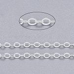 Cadenas de cable de latón, soldada, con carrete, sin plomo y cadmio, plata, 2.5x2x0.45 mm; aproximamente 92 m / rollo