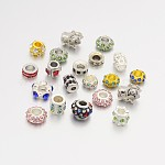 Alloy Glass Rhinestone European Beads, Mixed Style, Mixed Color, 10~14x9.5~15x6~13mm, Hole: 4~5mm
