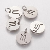 304 Stainless Steel Charms, Flat Round with Constellation/Zodiac Sign, Scorpio, 12x1mm, Hole: 3mm