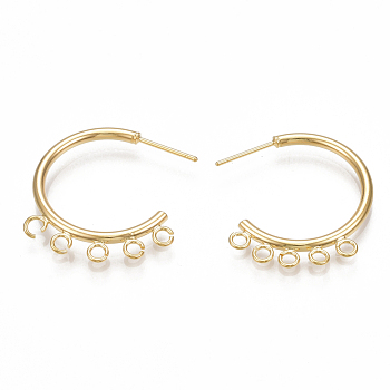 Brass Stud Earring Findings, Half Hoop Earrings, with Loop, Nickel Free, Real 18K Gold Plated, 27.5x27.5x2mm, Hole: 2mm; Pin: 0.7mm