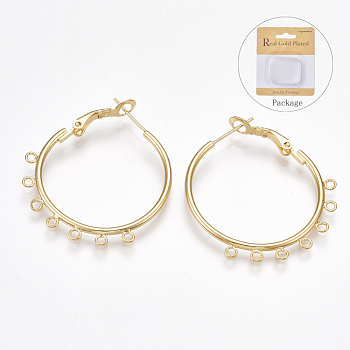 Brass Hoop Earrings Findings, with 925 Sterling Silver Pins, Nickel Free, Real 18K Gold Plated, 12 Gauge, 35x31~34x2mm, Hole: 1.5mm; Pin: 0.8mm