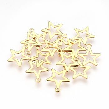 304 ciondoli in acciaio inossidabile, stella, oro, 14.5x12.5x0.6mm, Foro: 1.2 mm