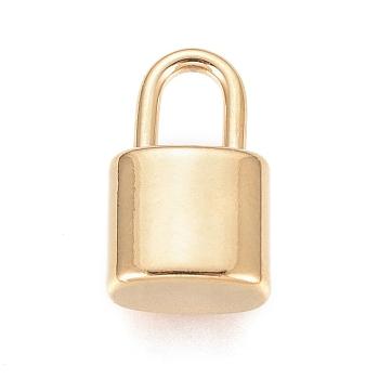 Colgantes de 304 acero inoxidable, Candado, dorado, 13x8x5mm, agujero: 3x5 mm