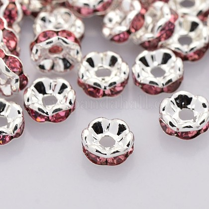 Brass Rhinestone Spacer BeadsRB-A014-L6mm-23S-NF-1