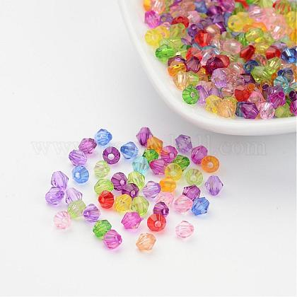Mixed Color Chunky Dyed Transparent Acrylic Faceted Bicone Spacer Beads for Kids Jewelry X-DBB4mm-1