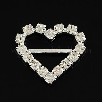 Corazón brillante de la boda invitación de la cinta hebillasRB-S019-06-1