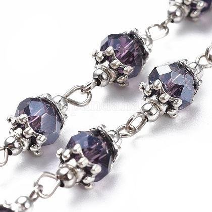 Handmade Glass Beaded ChainsAJEW-JB00498-02-1