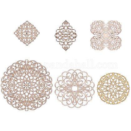 PH PandaHall 12pcs 6 Style Golden Brass Filigree Flower Connectors Charms Pendants for DIY Hairpin Headwear Earring Jewelry Making FindingsKK-PH0035-12G-1
