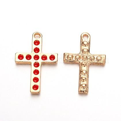Licht vergoldete Legierung Emaille Kreuz AnhängerENAM-J544-02KCG-1
