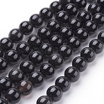 Natural Obsidian Beads Strands, Round, Grade AA, Black, 8mm; about 49pcs/strand, 15.7inches
