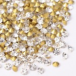 Back Plated Diamond Glass Pointed Rhinestone, Crystal, 5.4~5.6mm; about 720pcs/bag