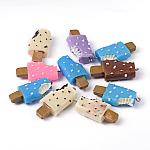 樹脂チャーム, アイスクリームのスティック, ミックスカラー, 40~44x18~20x11~12mm, 穴:2~3mm