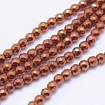 No magnético hematites sintética abalorios hebras, galjanoplastia del vacío, facetas (128 facetas), redondo, chapado en cobre rojo, 3mm