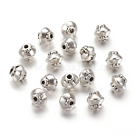 Tibetan Style Spacer Beads, Lead Free & Nickel Free & Cadmium Free, Bicone, Antique Silver, about 5mm in diameter, 4.5mm thick, hole: 1mm