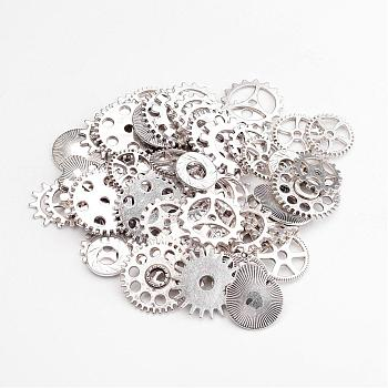 Metal Alloy Steampunk Gear Charms Connectors Cog Pendants, Lead Free, Antique Silver, 19~25x1~1.5mm, Hole: 2~14.5mm; about 256~273pcs/500g
