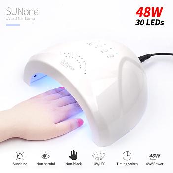 48w Plastiknageltrockner, LED-UV-Lampe zum Aushärten des Nagels, Gellack schnell trocknend, weiß, 19x15x8.5 cm