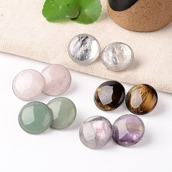 Mixed Stone Natural Mixed Stone Dome/Half Round Clip-on Earrings, with Platinum Plated Brass Findings, 21mm