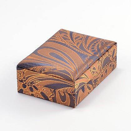 Rectángulo chinoiserie colgante de seda bordado collar cajasSBOX-N003-01-1