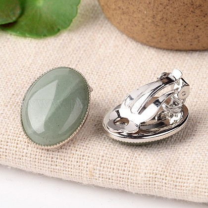 Natural Green Aventurine Oval Clip-on EarringsX-EJEW-J091-07-1