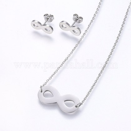 Conjuntos de joyería de 304 acero inoxidableSJEW-O090-08P-1