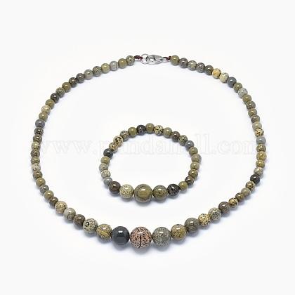 Natural Dendritic Jasper/Chohua Jasper Graduated Beads Necklaces and Bracelets Jewelry SetsSJEW-L132-08-1