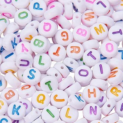 Pandahall около 1000 шт. 7 мм акриловые бусины с буквами алфавита az плоская круглая бусина-распорка для изготовления ювелирных изделийSACR-PH0003-03-1