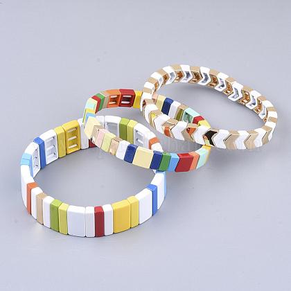 Pulseras elásticas de azulejosBJEW-Q697-05-1