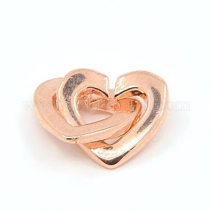 Latón dos bucles corazón entrelazados broches para joya de diyKK-M051-01RG-1