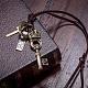 Adjustable Men's Zinc Alloy Pendant and Leather Cord Lariat NecklacesNJEW-BB15995-B-7