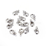 Zinc Alloy Lobster Claw Clasps, Lead Free, Platinum, Size: about 7mm wide, 12mm long, hole: 1.5mm
