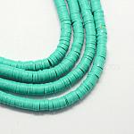 Cuentas hechas a mano de arcilla polimérica heishi, disco / plano y redondo, mediumspringgreen, 8x0.5~1mm, agujero: 2 mm; aproximamente 380~400 unidades / cadena, 17.7