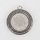 Tibetan Style Alloy Pendant Cabochon Settings, Flat Round, Antique Silver, Tray: 25mm; 40x35x2mm, Hole: 3mm