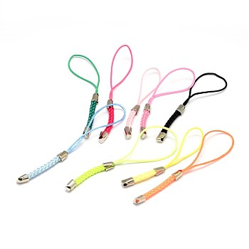 Mixed Color Nylon Cord Mobile Straps, with Iron Findings, Mixed Color, 85x4mm, Hole: 1.5mm