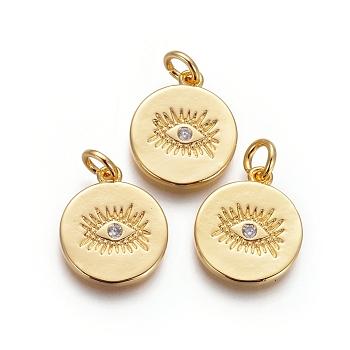 Colgantes de latón, con circonita cúbica y anillos de salto, plano y redondo con mal de ojo, Claro, dorado, 15x13x1.5mm, agujero: 3 mm