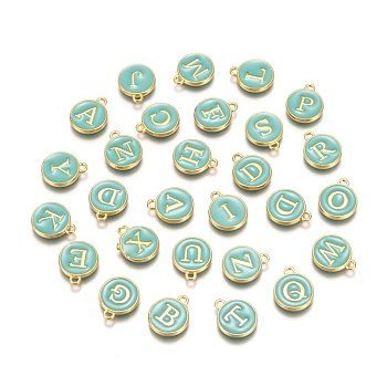 Golden Plated Alloy Enamel Charms, Enamelled Sequins, Flat Round with Alphabet, Letter A~Z, Turquoise, Turquoise, 14x12x2mm, Hole: 1.5mm; 26pcs/set