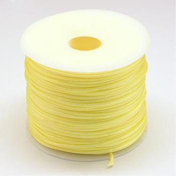 Hilo de nylon, Cordón de satén de cola de rata, amarillo champagne, 1.0 mm; aproximamente 70 m / rollo